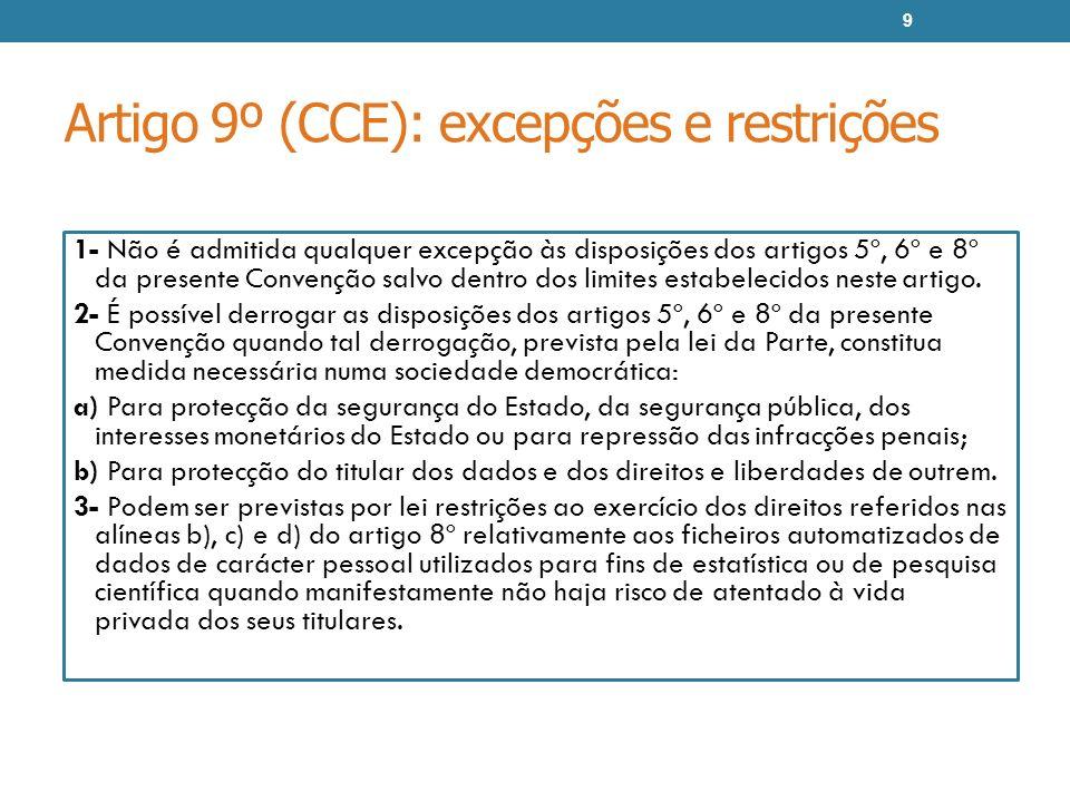 Artigo 9º (CCE): excepções e restrições