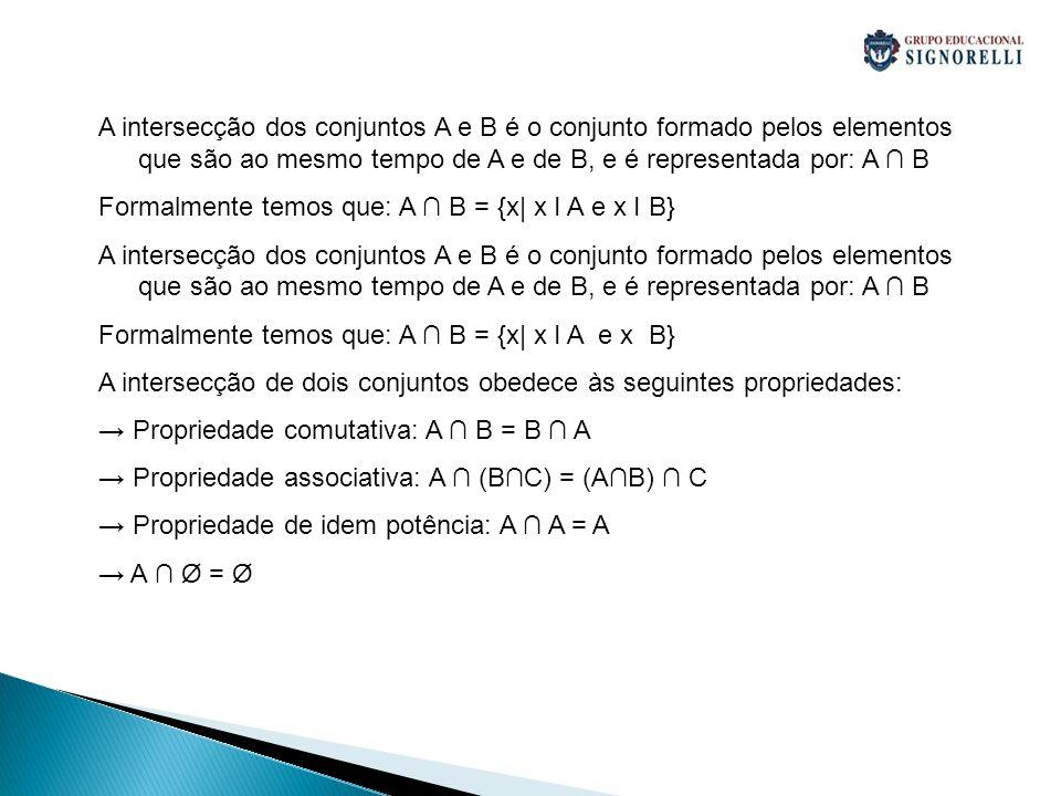 A intersecção dos conjuntos A e B é o conjunto formado pelos elementos que são ao mesmo tempo de A e de B, e é representada por: A ∩ B