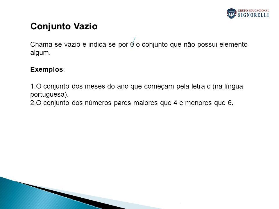 Conjunto Vazio Chama-se vazio e indica-se por 0 o conjunto que não possui elemento algum. Exemplos: