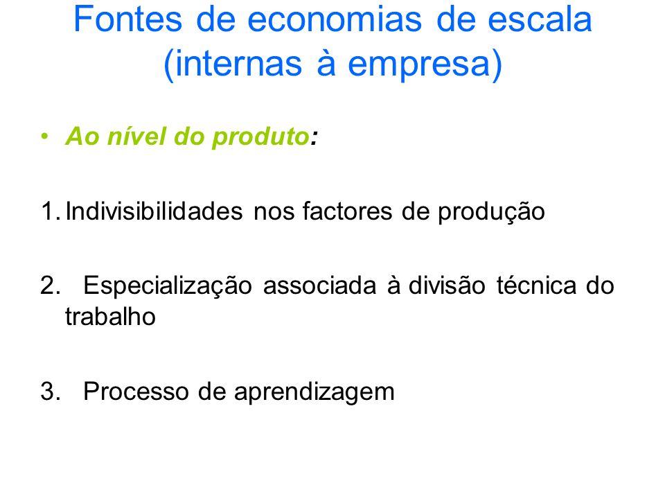 Fontes de economias de escala (internas à empresa)