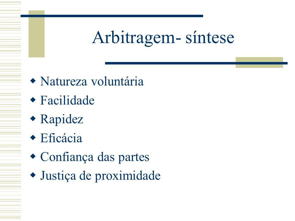 Arbitragem- síntese Natureza voluntária Facilidade Rapidez Eficácia