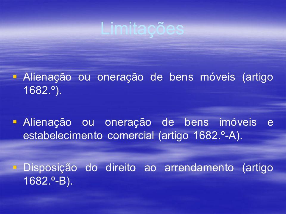 Limitações Alienação ou oneração de bens móveis (artigo 1682.º).