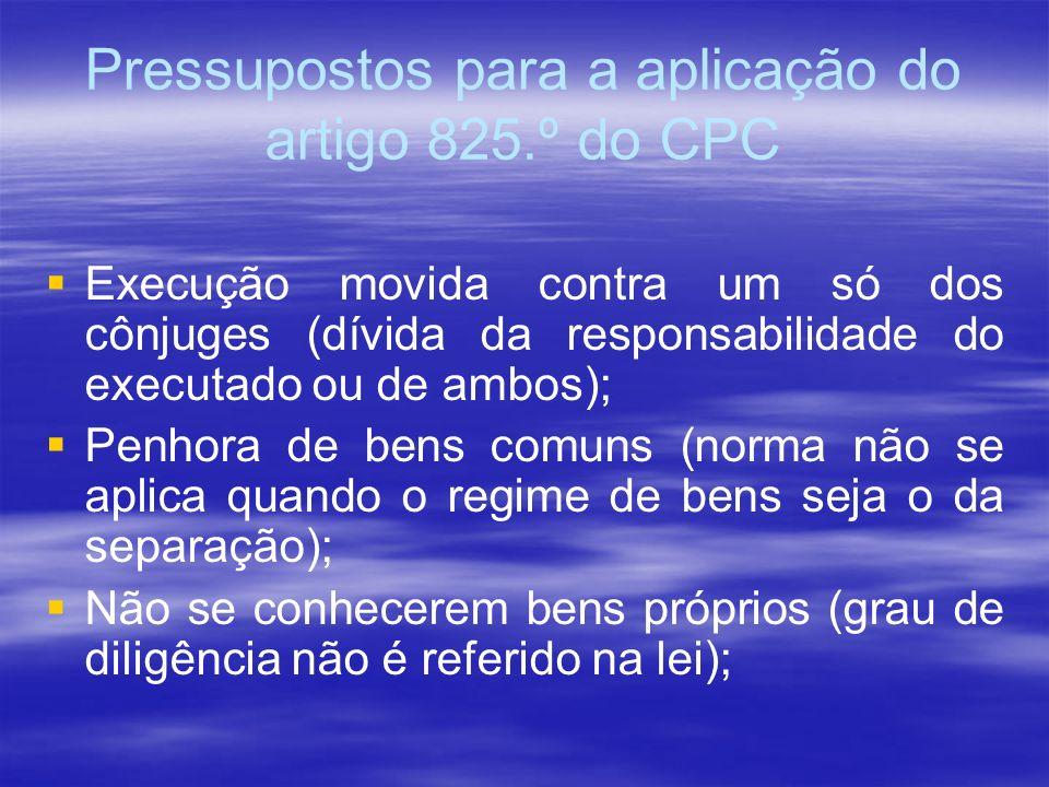 Pressupostos para a aplicação do artigo 825.º do CPC