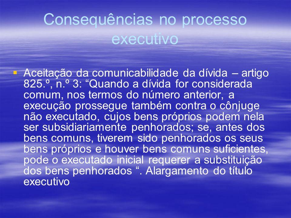 Consequências no processo executivo