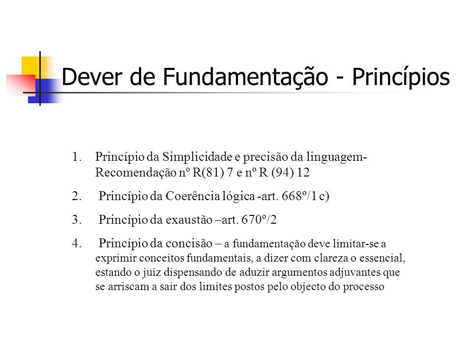 Dever de Fundamentação - Princípios