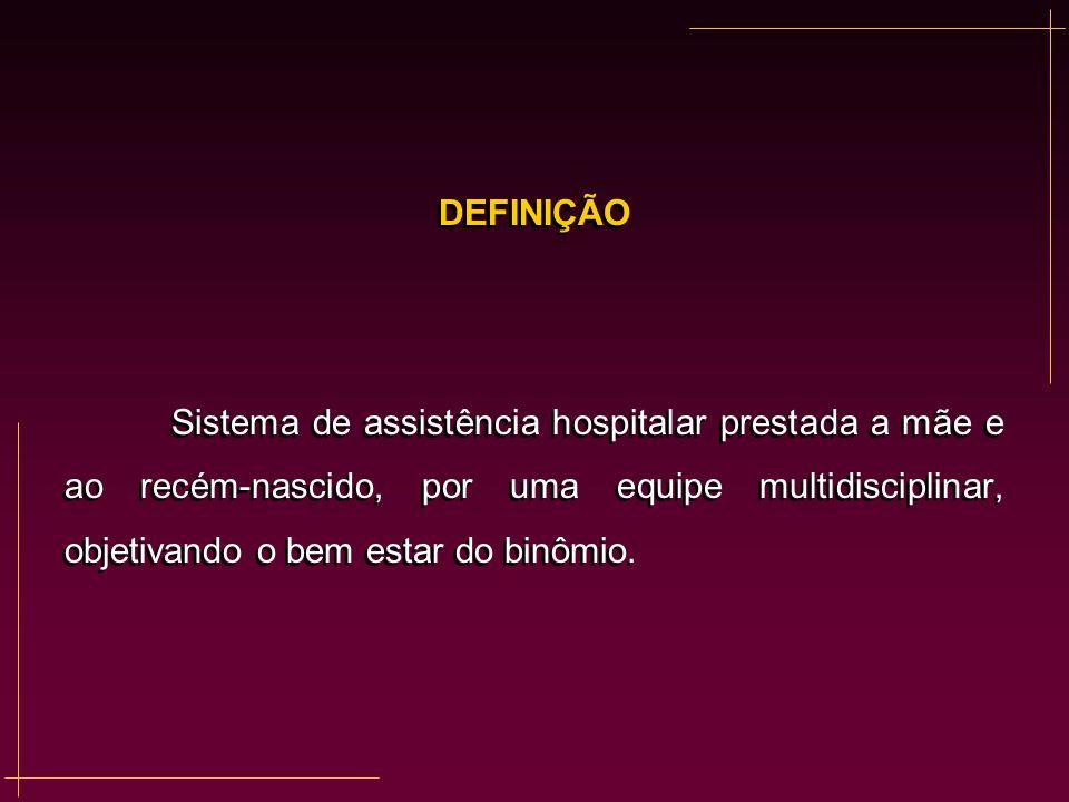 DEFINIÇÃO Sistema de assistência hospitalar prestada a mãe e ao recém-nascido, por uma equipe multidisciplinar, objetivando o bem estar do binômio.