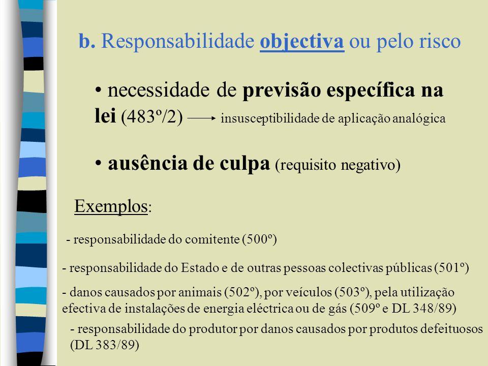 b. Responsabilidade objectiva ou pelo risco
