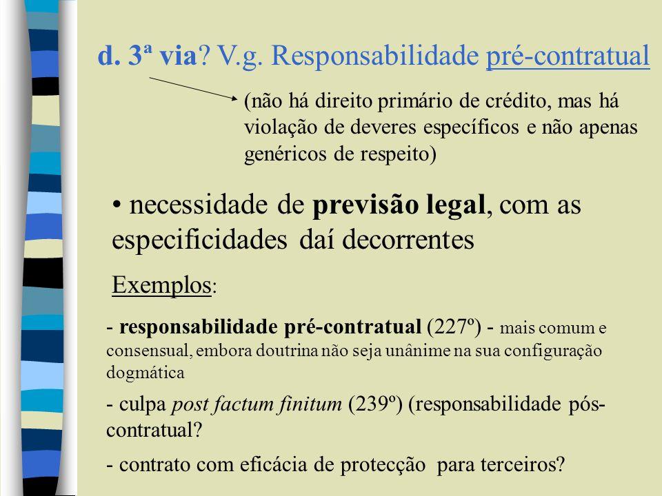 d. 3ª via V.g. Responsabilidade pré-contratual