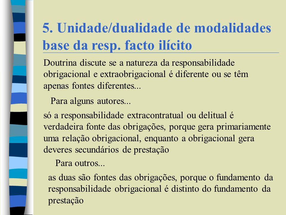 5. Unidade/dualidade de modalidades base da resp. facto ilícito