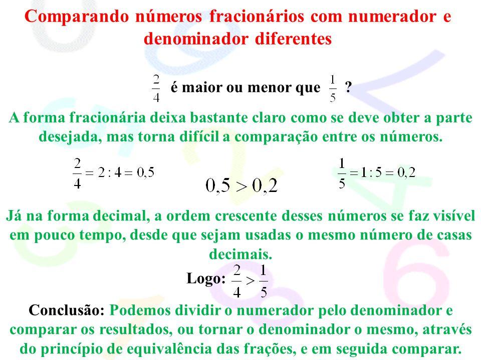 Comparando números fracionários com numerador e denominador diferentes