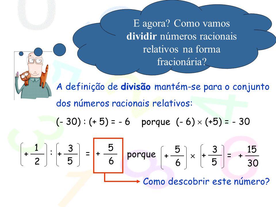 E agora Como vamos dividir números racionais relativos na forma fracionária