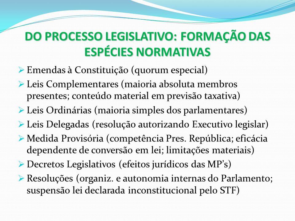 DO PROCESSO LEGISLATIVO: FORMAÇÃO DAS ESPÉCIES NORMATIVAS