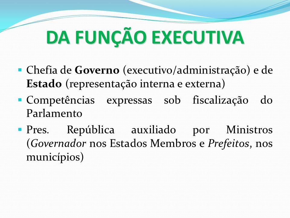 DA FUNÇÃO EXECUTIVA Chefia de Governo (executivo/administração) e de Estado (representação interna e externa)
