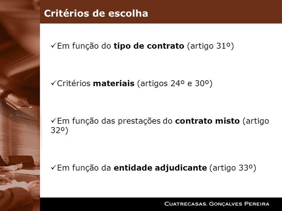 Critérios de escolha Em função do tipo de contrato (artigo 31º)