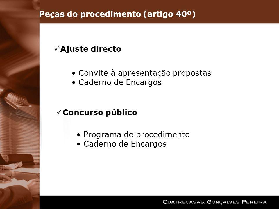 Peças do procedimento (artigo 40º)