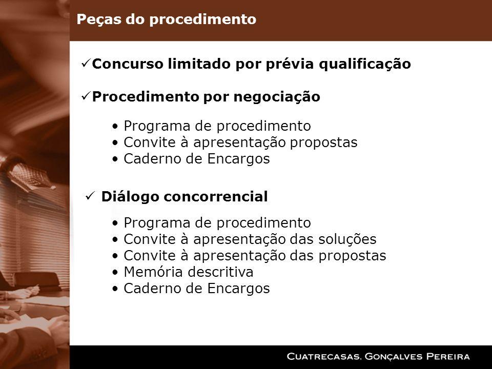 Peças do procedimentoConcurso limitado por prévia qualificação. Procedimento por negociação. Programa de procedimento.