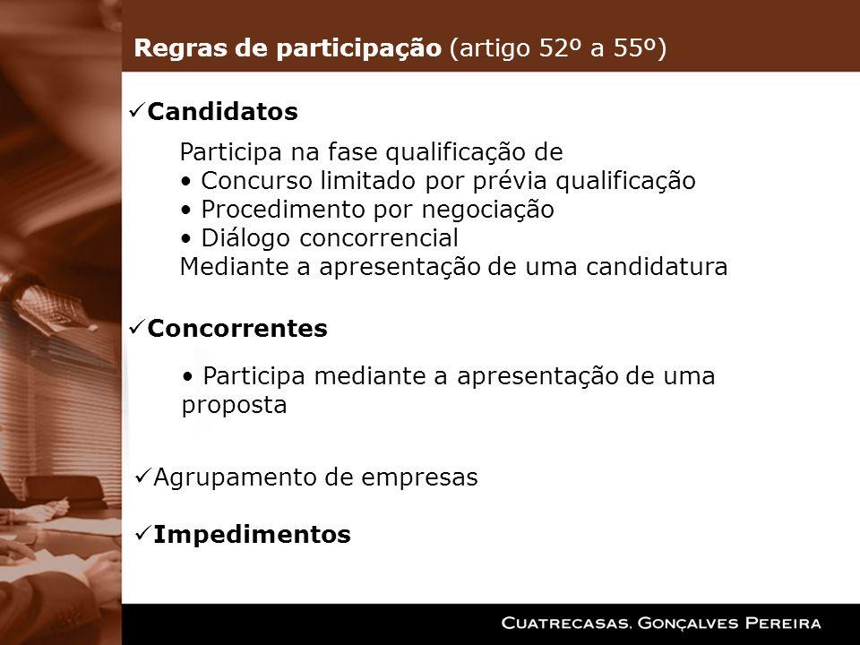 Regras de participação (artigo 52º a 55º)