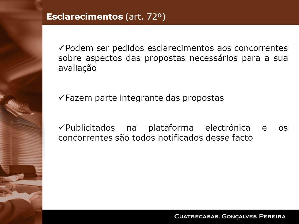 Esclarecimentos (art. 72º)