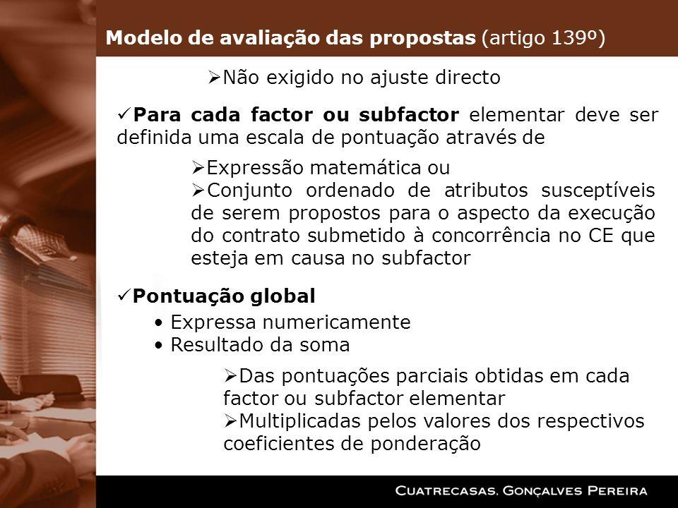 Modelo de avaliação das propostas (artigo 139º)