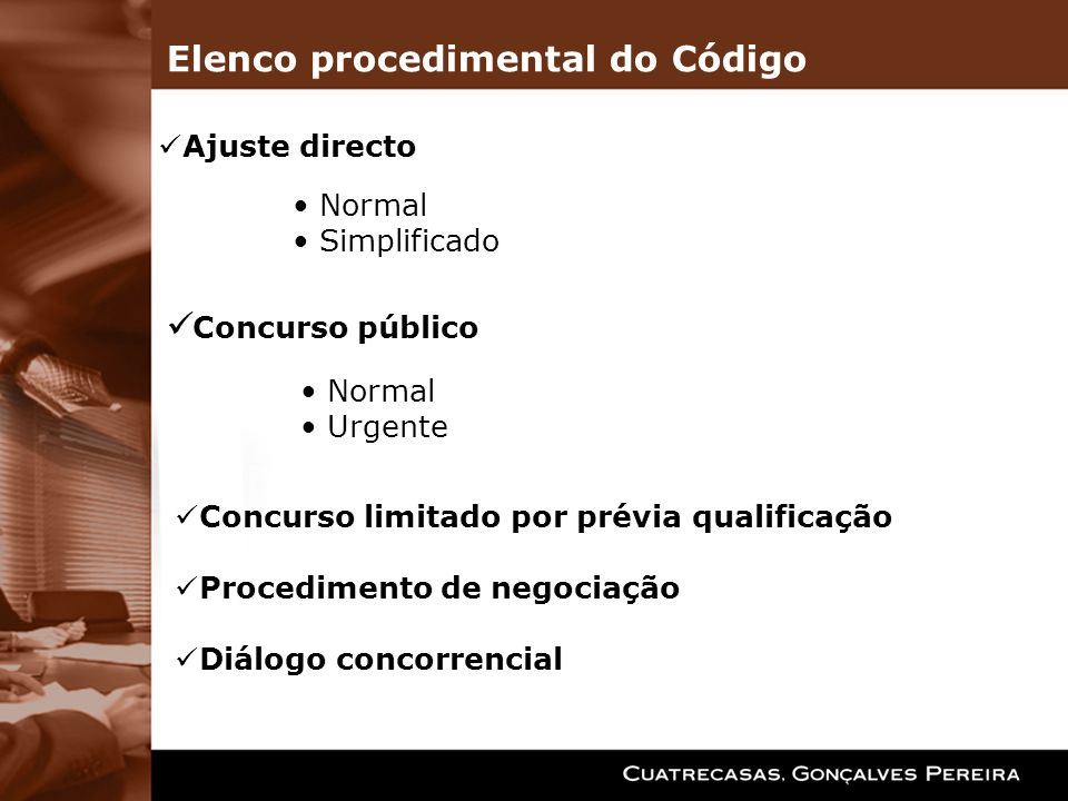 Elenco procedimental do Código