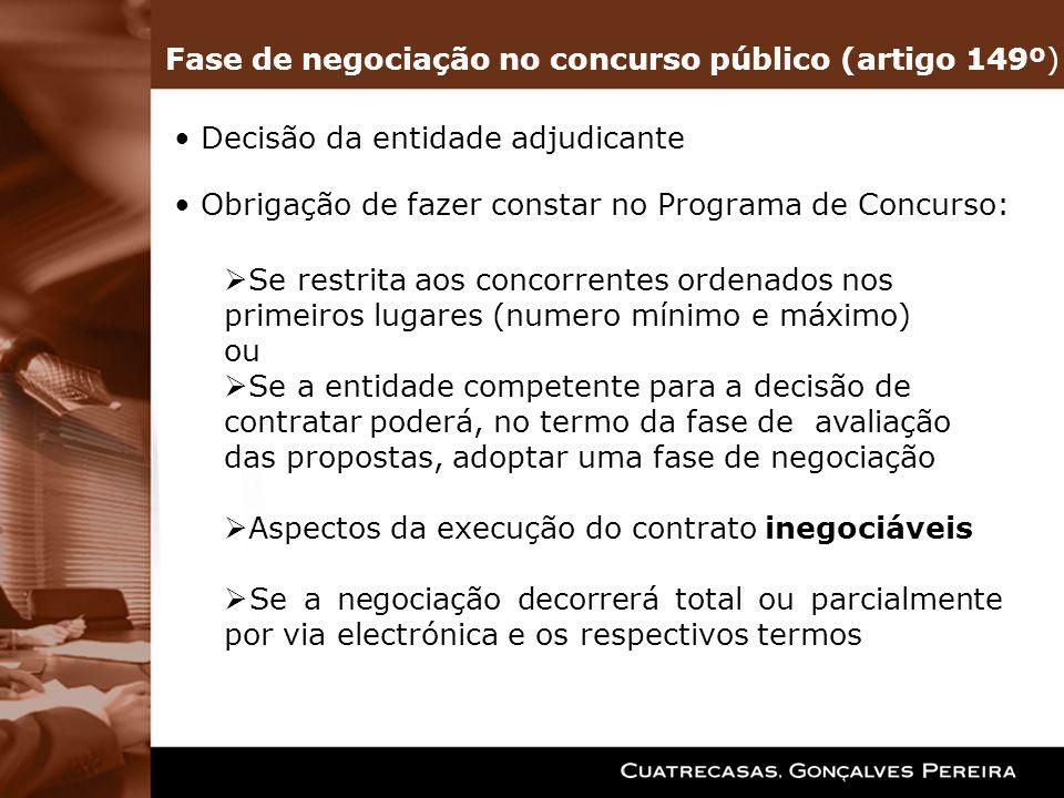 Fase de negociação no concurso público (artigo 149º)