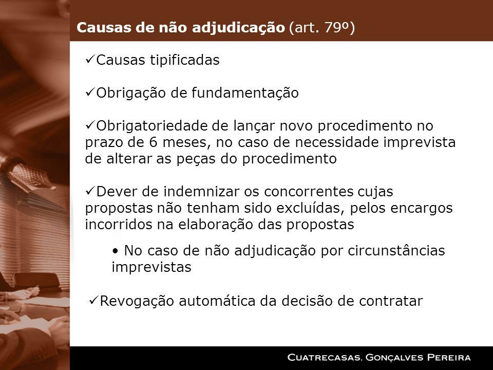 Causas de não adjudicação (art. 79º)