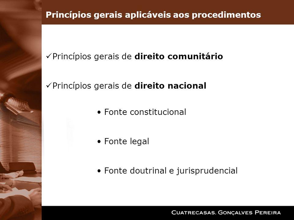 Princípios gerais aplicáveis aos procedimentos