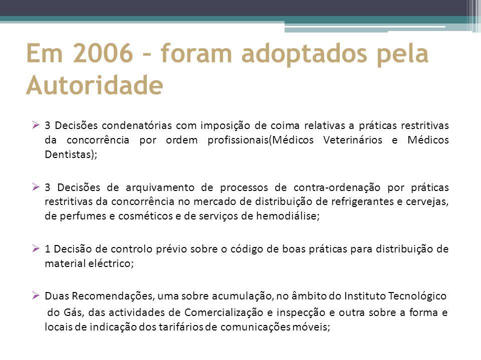 Em 2006 – foram adoptados pela Autoridade