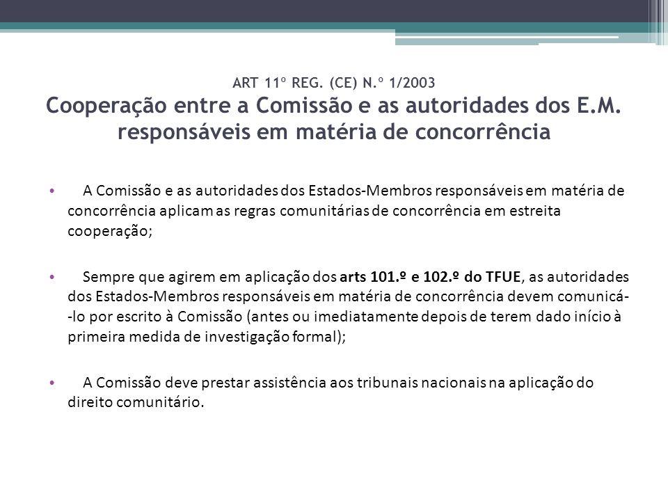 ART 11º REG. (CE) N.º 1/2003 Cooperação entre a Comissão e as autoridades dos E.M. responsáveis em matéria de concorrência