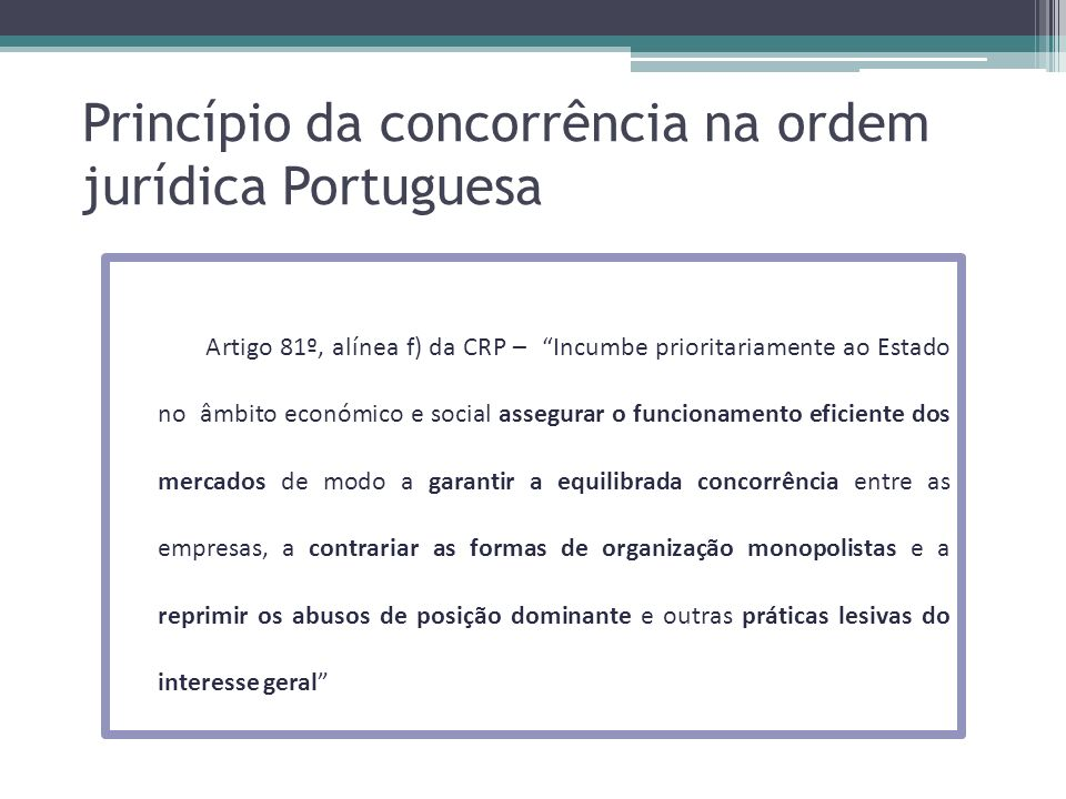 Princípio da concorrência na ordem jurídica Portuguesa