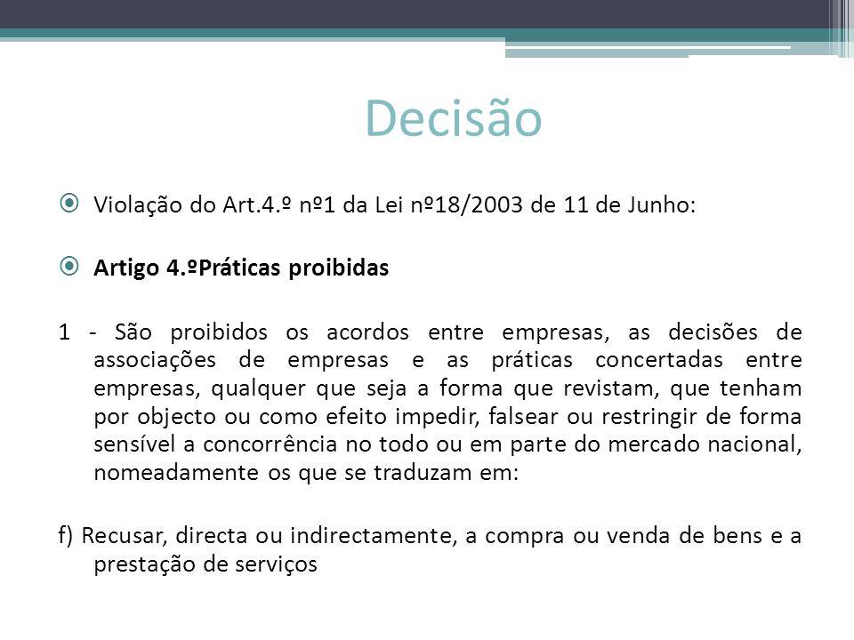 Decisão Violação do Art.4.º nº1 da Lei nº18/2003 de 11 de Junho:
