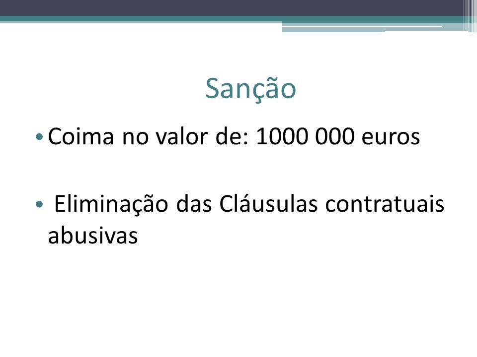 Sanção Coima no valor de: 1000 000 euros
