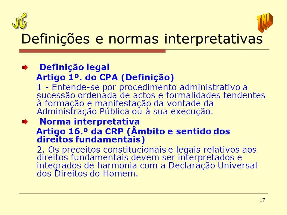 Definições e normas interpretativas