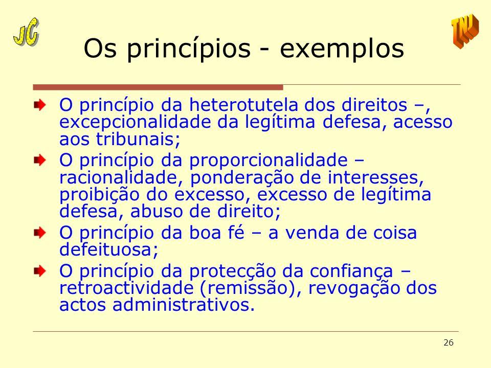 Os princípios - exemplos
