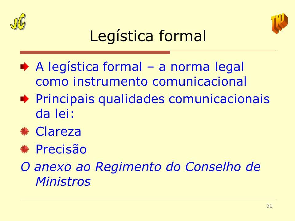 JCTNJ. Legística formal. A legística formal – a norma legal como instrumento comunicacional. Principais qualidades comunicacionais da lei: