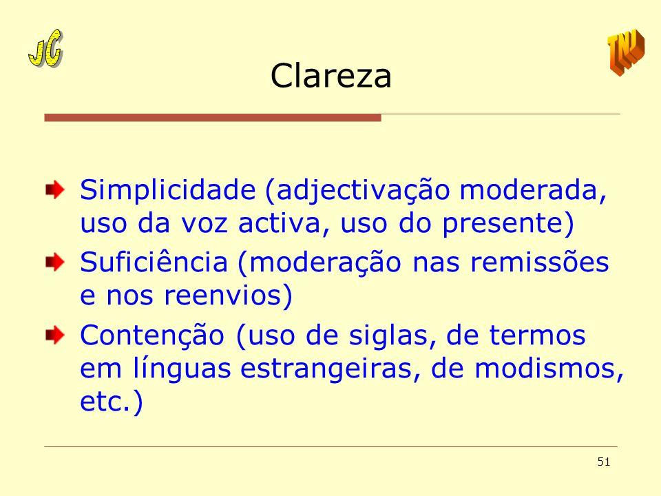 JCTNJ. Clareza. Simplicidade (adjectivação moderada, uso da voz activa, uso do presente) Suficiência (moderação nas remissões e nos reenvios)