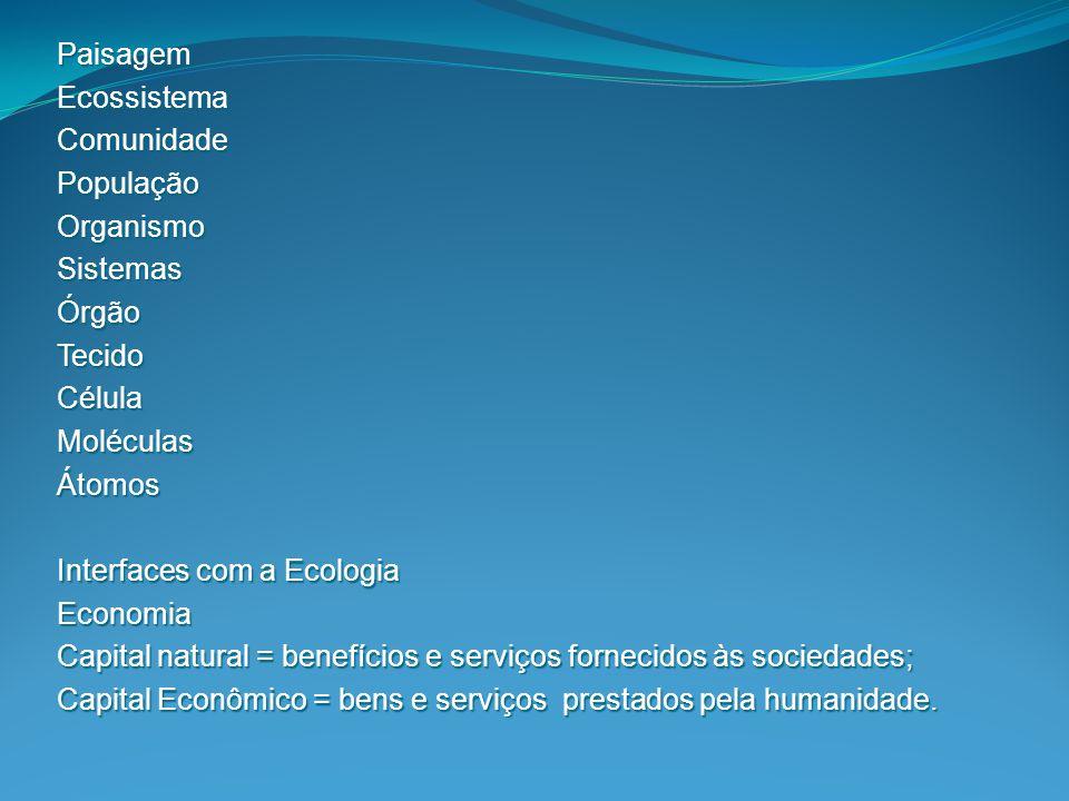Paisagem Ecossistema. Comunidade. População. Organismo. Sistemas. Órgão. Tecido. Célula. Moléculas.