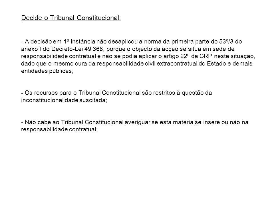 Decide o Tribunal Constitucional: