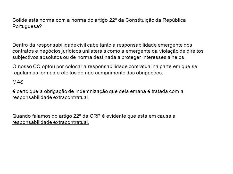Colide esta norma com a norma do artigo 22º da Constituição da República Portuguesa
