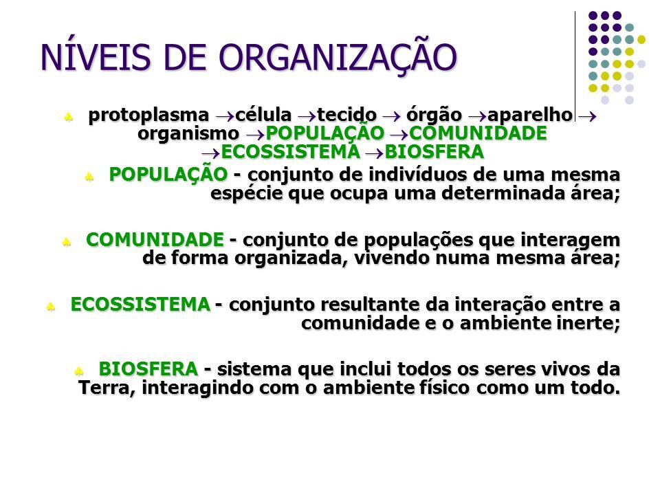 NÍVEIS DE ORGANIZAÇÃO protoplasma célula tecido  órgão aparelho  organismo POPULAÇÃO COMUNIDADE ECOSSISTEMA BIOSFERA.