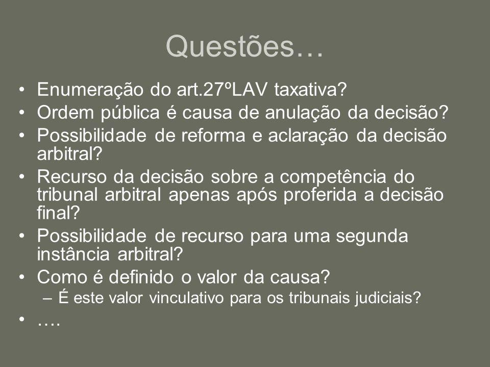 Questões… Enumeração do art.27ºLAV taxativa