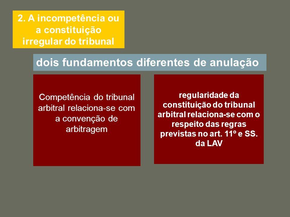 2. A incompetência ou a constituição irregular do tribunal