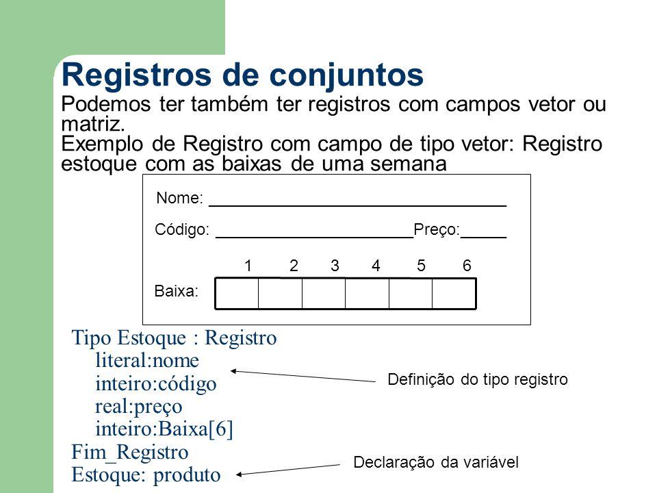 Registros de conjuntos