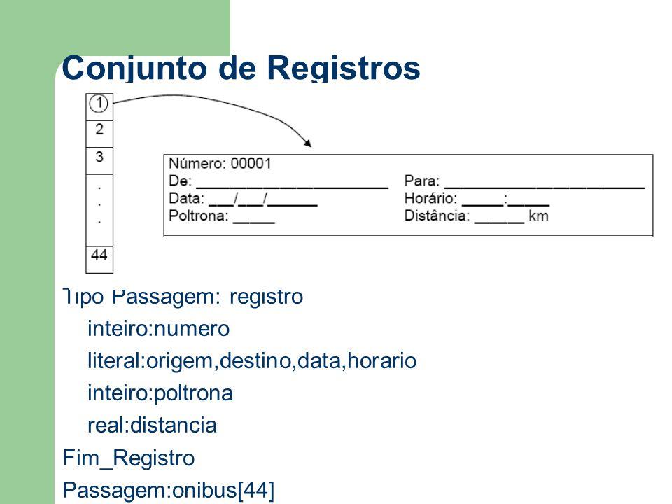 Conjunto de Registros Tipo Passagem: registro inteiro:numero