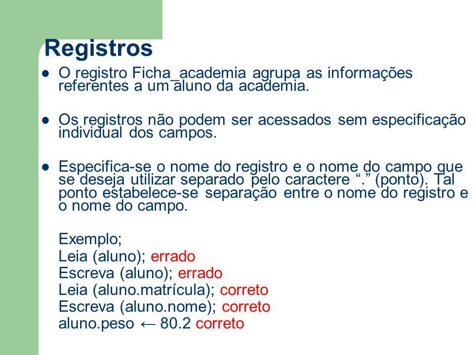Registros O registro Ficha_academia agrupa as informações referentes a um aluno da academia.