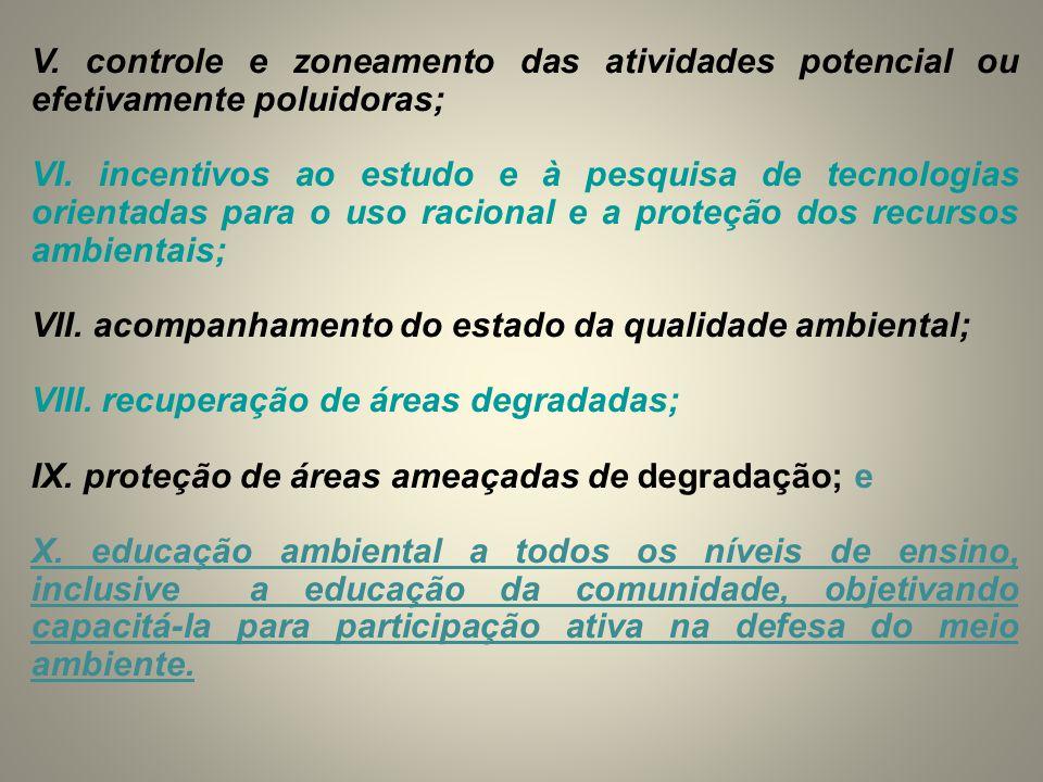 V. controle e zoneamento das atividades potencial ou efetivamente poluidoras;