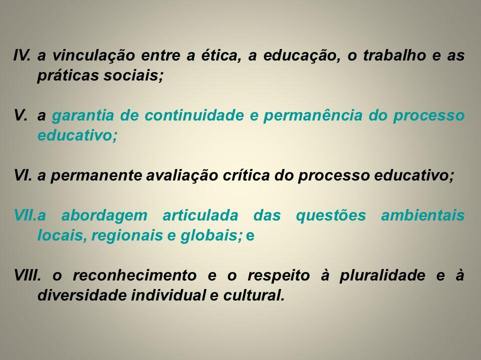 IV. a vinculação entre a ética, a educação, o trabalho e as práticas sociais;
