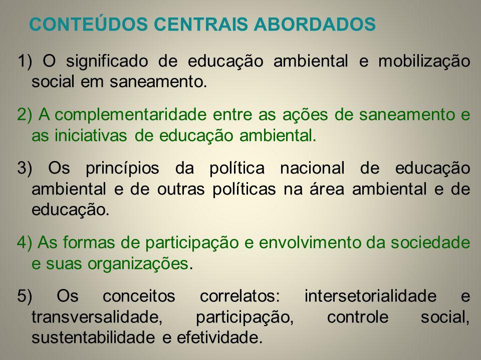 CONTEÚDOS CENTRAIS ABORDADOS