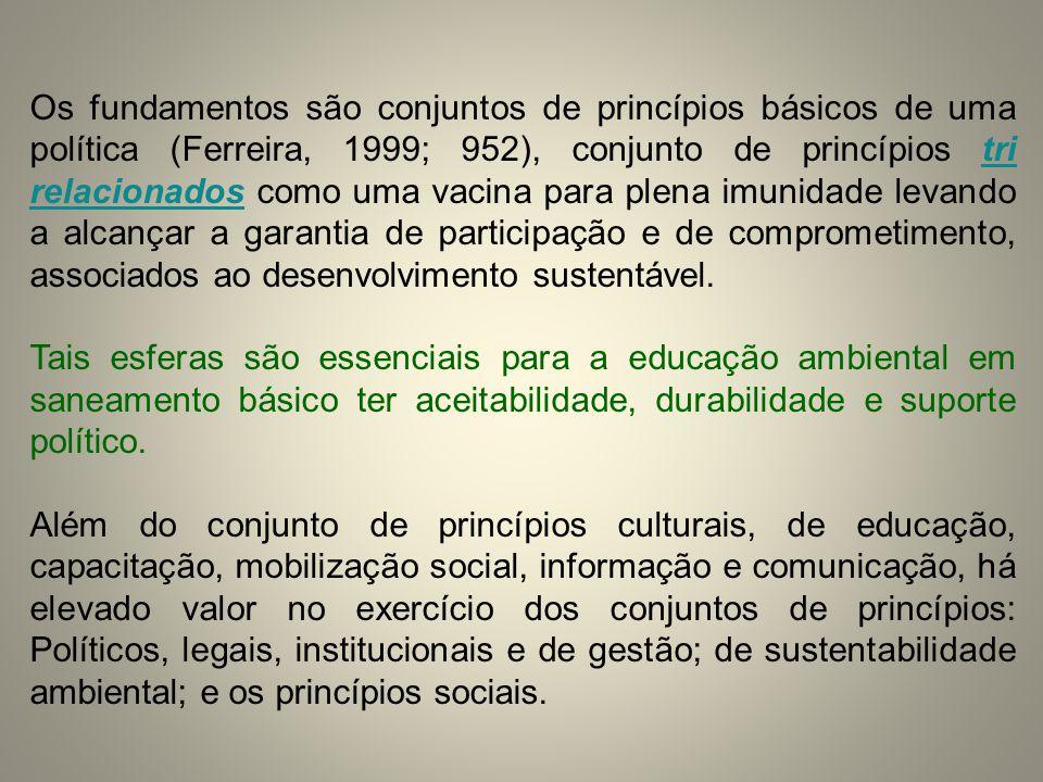 Os fundamentos são conjuntos de princípios básicos de uma política (Ferreira, 1999; 952), conjunto de princípios tri relacionados como uma vacina para plena imunidade levando a alcançar a garantia de participação e de comprometimento, associados ao desenvolvimento sustentável.