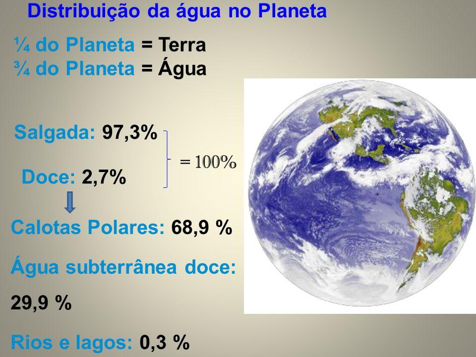 Distribuição da água no Planeta ¼ do Planeta = Terra